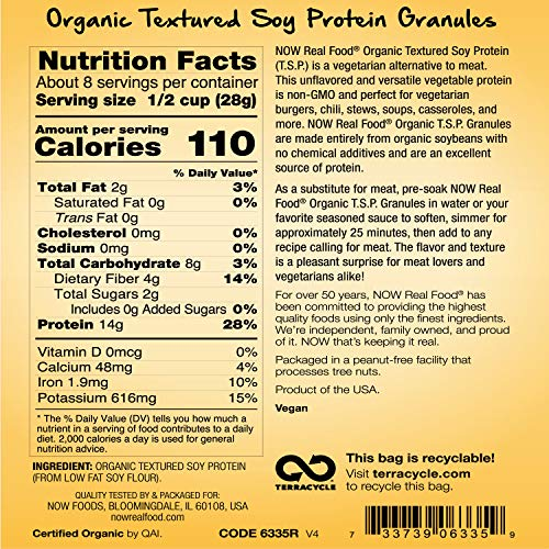 NOW Foods, Organic Textured Soy Protein Granules, Non-GMO, Versatile, Vegetable-Sourced Protein, 8-Ounce