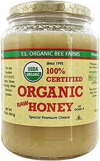 YS Organic Bee Farms CERTIFIED ORGANIC RAW HONEY 100% CERTIFIED ORGANIC HONEY Raw, Unprocessed, Unpasteurized - Kosher 32oz(pack of 2)