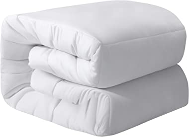 Oubonun All Season Queen Comforter Summer Cool Soft Quilted Down Alternative Duvet Insert with Corner Tabs,Luxury Fluffy Reversible Hotel Collection (White, Queen)