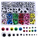 900pcs Craft Wiggle Googly Eyes Self Adhesive, for Craft Sticker Multi Colors and Sizes for Doll Bear Making,...