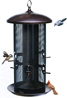 Nature's Rhythm Metal Hopper Bird Feeder Two Chambers,Heavy Duty Mesh Metal Dual Seed Compartments Outdoor Hanging Metal W...