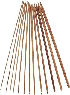 Bonarty 14 Pièces 13.8 Pouces Poignée en Bambou Crochet Crochet Tricot Artisanat Tricot Aiguille Tissage Fil 3-10mm