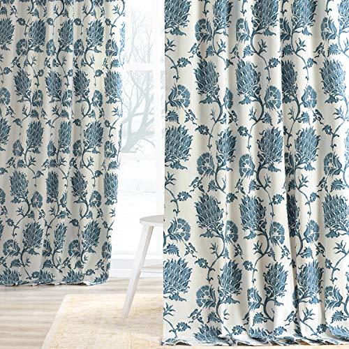 HPD Half Price Drapes PRTW-D51A-84 Printed Cotton Twill Curtain (1 Panel), 50 X 84, Duchess Blue