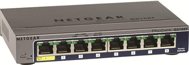 NETGEAR GS108T-200NAS 8-Port Gigabit Smart Managed Pro Switch, L2, ProSAFE Lifetime Protection (GS108Tv2)