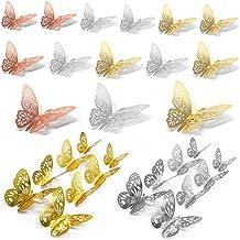 Anyasen Muurdecoratie 60 stuks Vlinder Muursticker 3D Vlinder Stickers 3D Muurstickers Vlinders Decoraties Papier Muurschi...
