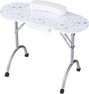 SUNCOO Manicure Nail Table Station Folding Nails Desk Portable Spa Beauty Salon with Controllable Wheels, 27 Inches Height, White.