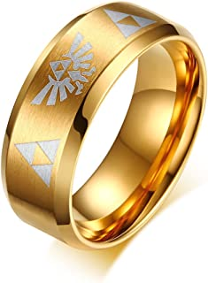 XUANPAI Stainless Steel 8mm Brushed Domed Legend of Zelda Triforce Wedding Engagement Ring Band