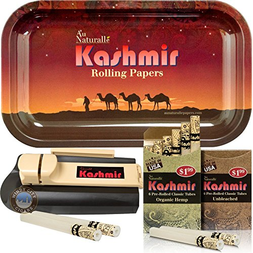 Kashmir Combo of Organic Classic Pre Rolled Filtered Tubes, 1 Metal Rolling Tray and Injector Machine Bundle - Desert