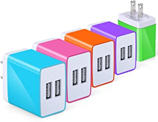 USB Wall Charger with USB Port, Eversame 3.1A USB Charger Compatible for iPhone X/ 8/7/6s/Plus, iPad Pro/Air 2/Mini/iPod, Galaxy S4/S5/Note 4, LG, Nexus (Pack-5, Blue Hot Pink Orange Purple Green)
