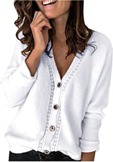 Damen Leichte Beiläufige Pullover Weiche Strickpullover Einfarbig Pullover für Damen Elegant Strickjacke Outwear Mantel La...
