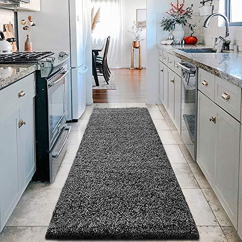 SHAGGY - Alfombra moderna de 30 mm/3 cm, tamaño extra grande, rectangular, suave al tacto, no se desprende, alfombra de dormitorio, alfombra para pasillo (gris oscuro, 60 x 220 cm)