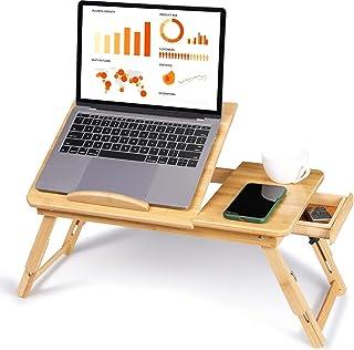 Plateau de Lit Portable pour PC Portable Table de Lit pour Ordinateur Portable en Bambou Réglable en Hauteur Plateau de Li...