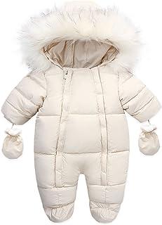 الرضع الدافئ بذلة القطن أسفل السروال القصير مقنعين داخل الصوف طفل رضيع فتاة وزرة قميص (Color : Beige, Kid Size : 6-9M)