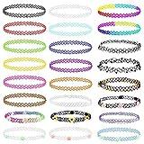 LANMOK Elastische Halskette, 24Stk Stretch Tattoo Choker Kette Rainbow Armband Vintage Gummi Tattoo Halskette Henna Halsband für Mädchen Frauen Teen MädchenKinder 80S 90S