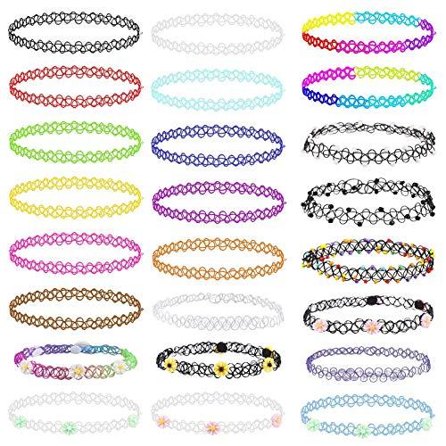 Elastische Halskette,LANMOK 24Stk Stretch Tattoo Choker Kette Rainbow Armband Vintage Gummi Tattoo Halskette Henna Halsband für Mädchen Frauen Teen MädchenKinder 80S 90S