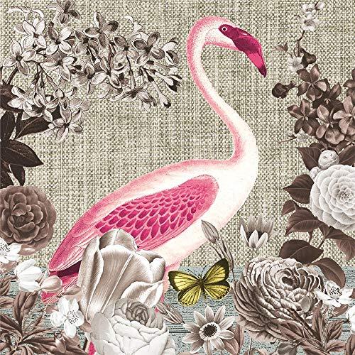 Nouveau Flamingo Sepia papieren servetten, meerkleurig, 33 x 33 cm