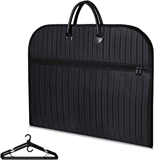 Buruis 39'' Travel Garment Bag with Large Laptop Compartment and 2 PCS Functional Hangers, Protable Waterproof Suit Bag Carrier for Trip, Business and Clothes Storage (Black Stripe)