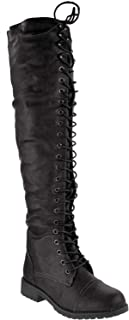 FG08 Women Leatherette Over The Knee Lace Up Combat Boot - Black
