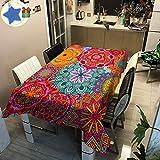 Enhome Mesa Mantel Antimanchas Rectangular Impermeable, 3D Flor Estampado Poliéster Tela Lavable para Exterior Interior Comedor Cocina Balcón Terraza Jardín Decoración (90×90cm,Mandala)