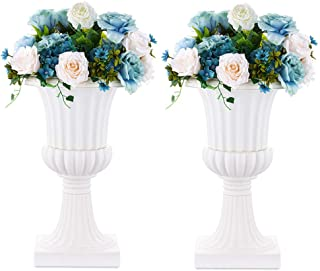 Nuptio 2 Pcs Classic Urn Planter, 19.7 inches Height Plastic Indoor or Outdoor Decorative Urn, Vintage Style Flower Pot, H...