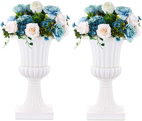Nuptio 2 Pcs Classic Urn Planter 19 7 Inches Height Plastic Indoor Or Outdoor Decorative Urn Vintage Style Flower Pot Home Garden Porch Front Door Planters Deck Balcony Decoration White