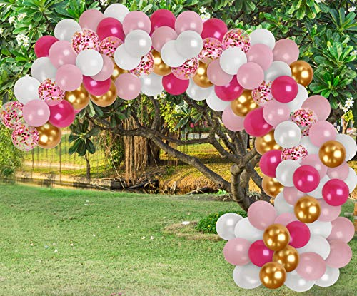 Treasures Gifted Unicorn Birthday Party Decorations Pink Gold Balloon Garland Kit White Hot Pink Balloons Chrome Gold Balloon Pink Confetti Balloon Wedding Bridal Shower Engagement Party Decor