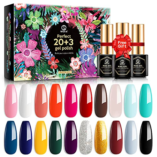 MEFA 23 Pcs Gel Nail Polish Set with Nice Box, Soak Off Nail Gel Collection with Glossy and Matte...