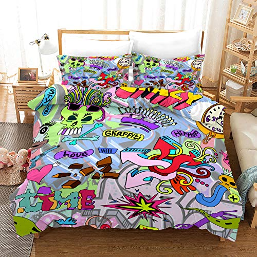 ZGSSSSS 3 Pieces Duvet Cover King Size 3D Cartoon Doodle Duvet Cover Set with 2 Pillowcases 80x80cm Easy Care with Zipper Bedding Quilt Cover for Teen and Adults Bedroom Decro 260x220cm