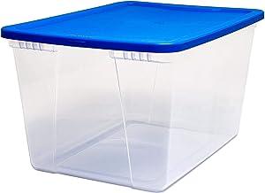 HOMZ Snaplock Clear Storage Bin with Lid, X Large-56 Quart, Blue, 4 Pack