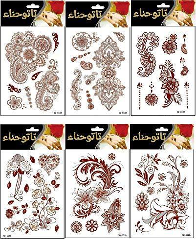 Adecco LLC 6 Sheets Flower Temporary Henna Tattoos, Fashion Flash Women Tattoo, Henna Stickers, Waterproof Red Ink Body Art Stickers