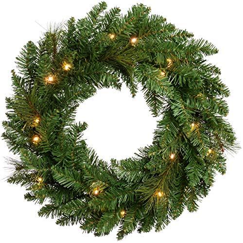 CJFHBVUQ Pre-Lit Wreath Christmas Decoration Illuminated with 20 Warm White Led Lights, 60 Cm Warm White