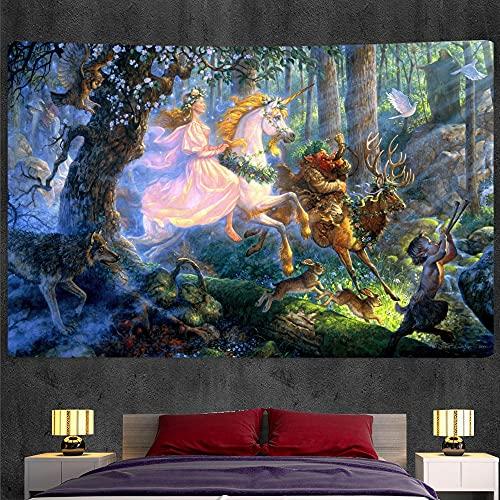 PPOU Misterioso Unicornio decoración del hogar Tapiz Colgante de Pared Tela de Fondo Tapiz psicodélico Manta Decorativa Bohemia A6 130x150cm