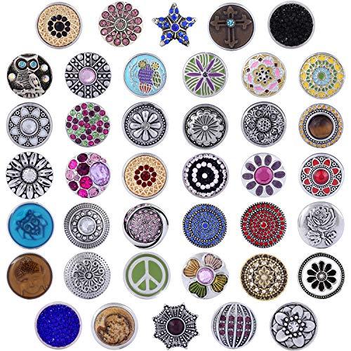 Morella 40 Click-Button Set Glitzer Druckknöpfe für Halsketten Armband und Ring Zirkonia Traum