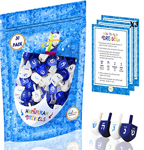 Wood Dreidel 30 Solid Blue & White Wooden Hanukkah Dreidels Hand Painted with English Transliteration - Includes x3 Game Instruction Cards! (30-Pack)