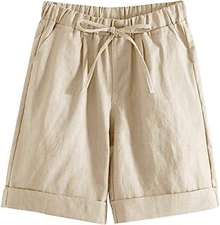 Tanming Women's Summer Casual Elastic Waist Cotton Linen Bermuda Shorts with Belt