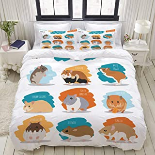 MIGAGA Duvet Cover Set, Hamster Breeds icon Set Flat Style, Decorative 3 Piece Bedding Set with 2 Pillow Shams