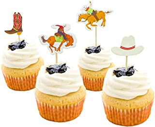 Cowboy Themed Cake Topper Mankujin 48 Pack Birthday Party Cupcake Toppers Cake Decorations for Baby Shower