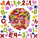 400 Pcs Assorted Foam Glitter Stickers Self Adhesive Foam Die Cut Alphabet Letters Numbers Punctuation Mark Star Heart Flower Foam Craft Shapes EVA 1' 1.5' 2' for Classroom Fun Home Activities Kids