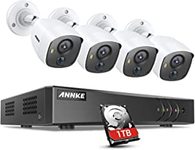ANNKE Security Camera System 8 Channel 5-in-1 H.265+ 3MP DVR with 1TB Hard Drive and 4×1080P HD Weatherproof PIR Surveilla...