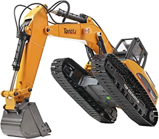 TongLi 580 1:14 Scale All Metal RC Excavator Toy for Adults Remote Control Digger Construction Trucks 2.4Ghz Powerful Upgraded V4 with New Motherboard