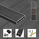 Montafox WPC Terrassendielen Dielen Komplettset Hohlkammerdiele Komplettbausatz Unterkonstruktion Clips, Größe (Fläche):10 m² 2.2m, Farbe:Grau