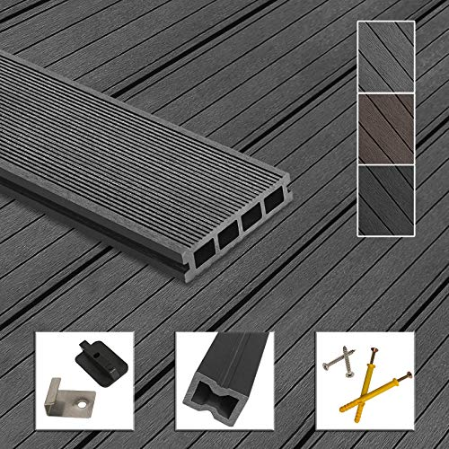 Montafox WPC Terrassendielen Dielen Komplettset Hohlkammerdiele Komplettbausatz Unterkonstruktion Clips, Größe (Fläche):Handmuster, Farbe:Grau