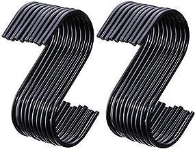 BJ-SHOP S-haak, S-vormige kapstok, roestvrij staal, zwart, 20 inch, 3,5 inch, pakket voor keuken, badkamer, slaapkamer en ...
