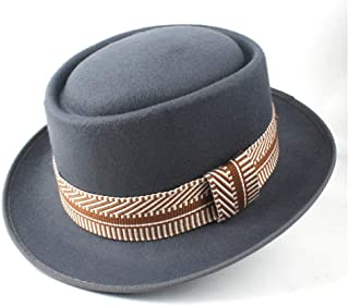 Pork Pie Hat Fedora Trilby Fashion Pork Pie Hat with Ribbon Outdoor Casual Wild Hat Men Women Friend Party Hat Size 58CM (Color : Gray, Size : 58)
