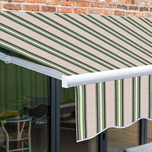 XIAO&WEICHENG 2.5 x 2m Manual Awning Garden Patio Canopy Sun Shade Shelter Retractable Multi-Stripe