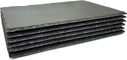 Preisvergleich für 6 STK Natur Schieferplatte 40x30cm | behauen Kante Tischplatten mit Versiegelung | mit Gummifüße