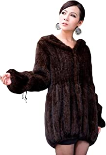Long Women's Real Genuine Knitted Mink Fur Coat Jacket with Hood