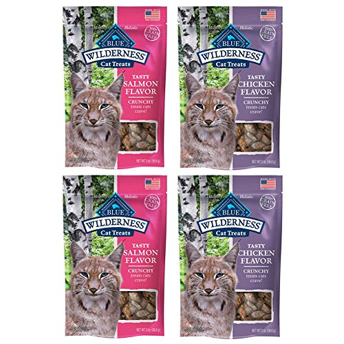 Blue Buffalo Wilderness Crunchy Cat Treats Variety Pack - 2 Ounces - 2 Flavors - Salmon and Chicken (4 Pouches Total)