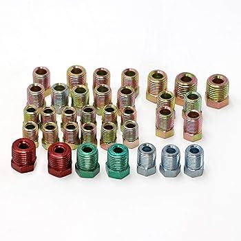 Brake Line Fitting Kit for Inverted Flares on 3/16 and 1/4 Tube,35pcs