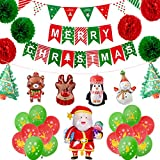 Nvetls Kit Navidad Decoracion Globos Navidad Bandera Merry Christmas Banner Fiesta de Navidad (B)